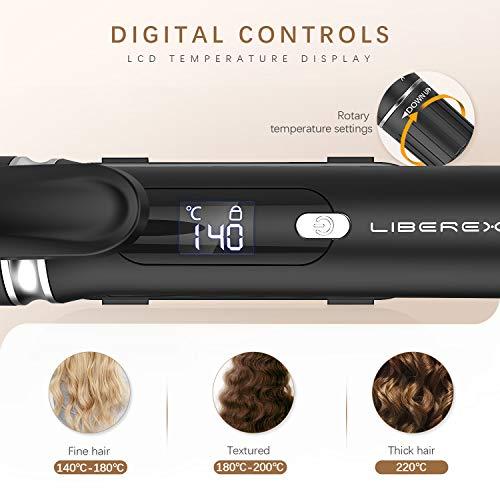 Liberex Fer à Boucler 25mm avec Gant Anti-brûlure et 2 Pinces - Boucleur a Cheveux Conique Céramique avec Affichage LCD, Température Réglable 140~220°C, Arrêt Automatique, Cordon Rotatif à 360°