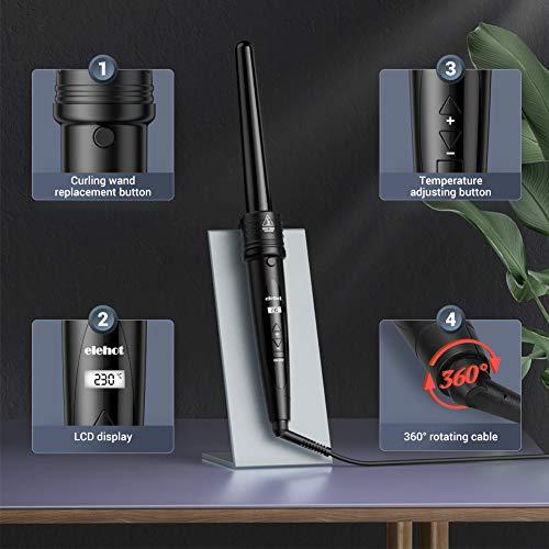 Fer à Boucler 5 en 1 avec LCD Ecran Boucleur Cheveux de 80-230℃ Fer à Friser en Céramique avec Gant ELEHOT