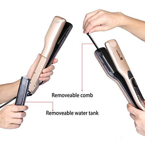 iGutech fer à lisser professionnel avec peigne à vapeur de défrisage, avec 5 trous de pulvérisation,anti-brûlure, fonction de verrouillage automatique de la température