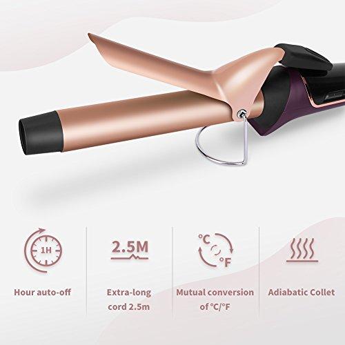 Fer à Boucler Boucleur Cheveux Fer à Friser Céramique 25mm avec LCD Ecran 120-210°C avec Gant et 5 Epingles Cheveux ELEHOT