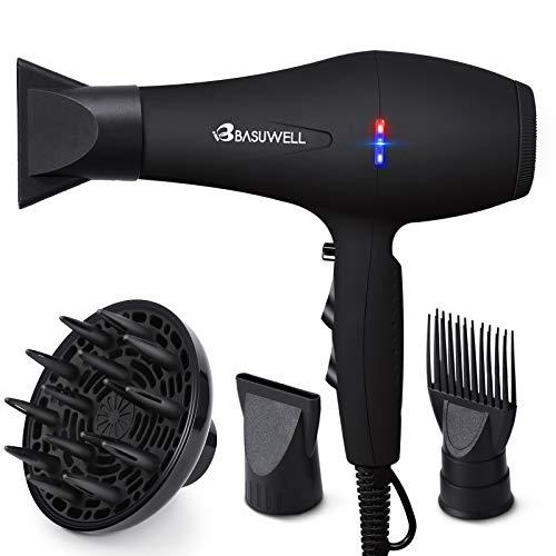 Basuwell Sèche Cheveux Professionnel 2100W, Salon Sèche-Cheveux avec Diffuseur,Peigne et Buse, Puissant AC Moteur (Noir)