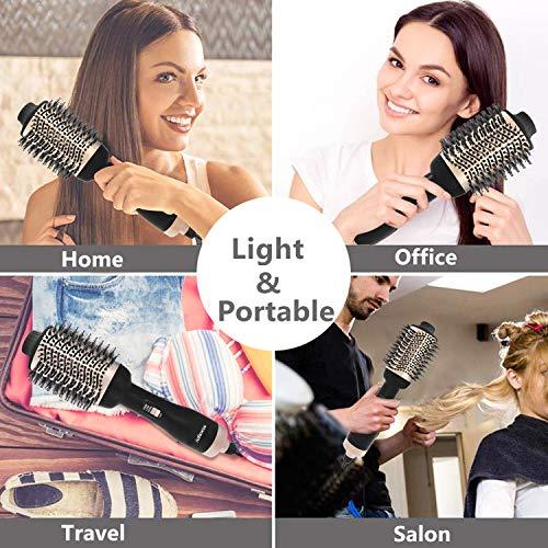 Adkwse Brosse Soufflante, 4 en 1 Hair Dryer Brush, Brosse Coiffante,Brosse Lissante Chauffant, Salon Sèche Cheveux Volumisant, Electrique Multifonctionnels Brosse Air Chaud (Dorée)