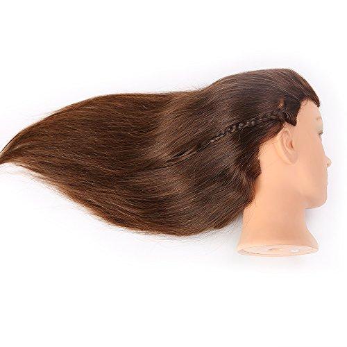 HAIREALM Têtes D'exercice Tête À Coiffer 100% Cheveux Naturel Coiffure Cosmétologie Pratique Mannequin Poupée + Titulaire EHE418S