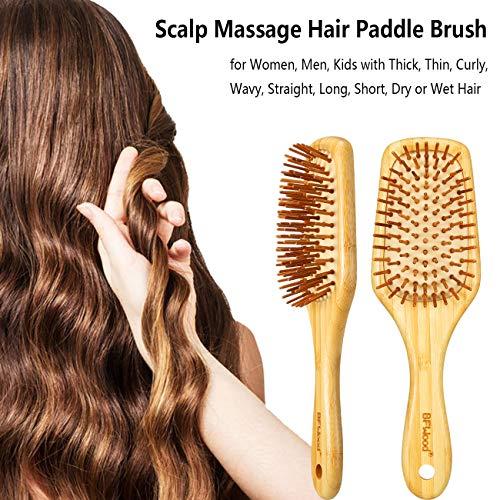 BFWood Brosse à cheveux bambou pour massage du cuir chevelu – poignée ergonomique