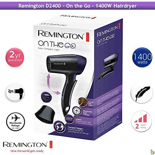 Remington Sèche-Cheveux de Voyage, Puissant 1400W, Poignée Pliable, 2 Températures, Compact - D2400 On The Go