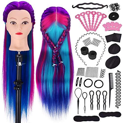 Tête d'exercice à coiffer coiffurer, MYSWEETY tête a coiffer professionnelle 71cm 100% Cheveux Fibre Synthétique pour Salon de Coiffer Enfant, Violet-bleu Tête Mannequin avec Table Support