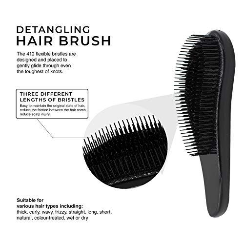 Brosse à cheveux démêlante, meilleure qualité de salon professionnel, brosse humide et sèche, sans enchevêtrement, sans douleur. Cheveux ondulés, bouclés ou fins. Femmes, filles et enfants (Noir)