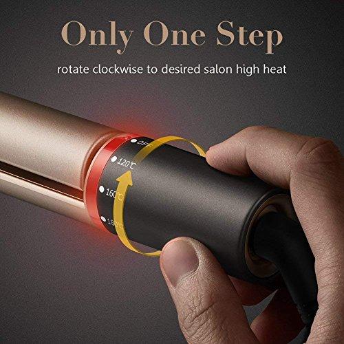 Lisseur Cheveux Fer a Lisser Plaques en Céramique, 120℃-230℃, EU Prise, Doré