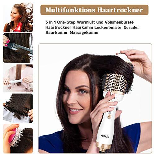 Aiskki Brosse Soufflante, Brosse Seche Cheveux Volumateur 5 en 1, Multifonctionnels Brosse Lissante Chauffante Peut Faire les Cheveux Lissés