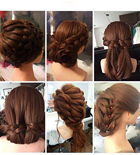 BeautyStar Tête à coiffer avec cheveux synthétiques, support de serrage et accessoires 55,88cm