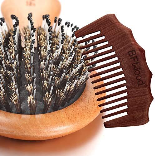 BFWood Brosse Cheveux Soie de Sanglier et Peigne pour Cheveux Normaux à Moyens
