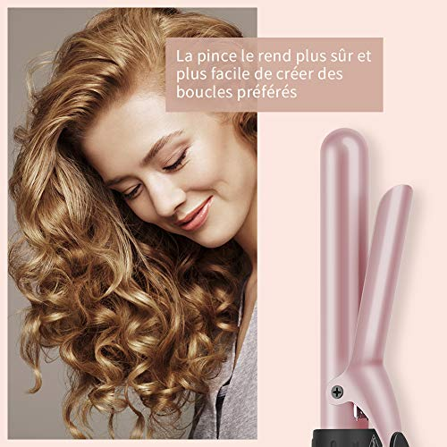 Friseur Boucleur Conique 6 en 1 Fer à Friser avec LCD Ecran 80-230°C Boucleur Cheveux Fer à Boucler en Céramique avec Gant ELEHOT (Rose)