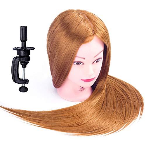 SIGHTLING 26'' Têtes d'exercice Tête À Coiffer avec Maquillage 50% Cheveux Naturel pour le Salon Coiffeur Poupée avec Support + Ensemble de Tresse